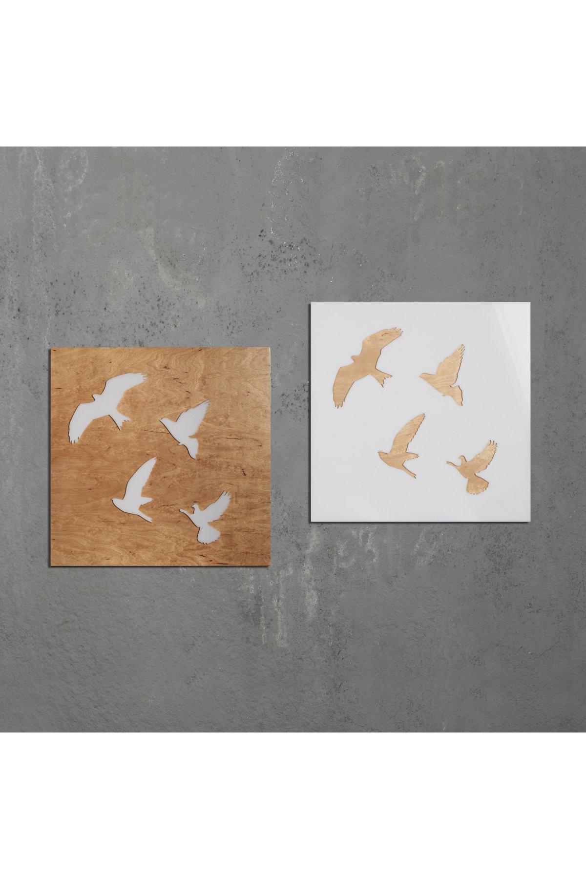 Evsimo Fly Tablo İkili Set Kayın-Beyaz
