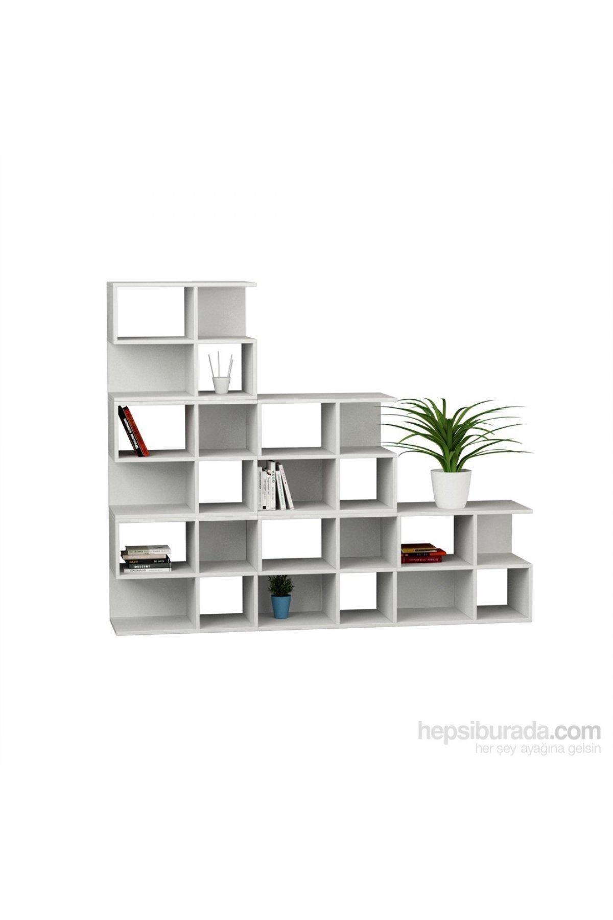 Evsimo Aaron Corner Kitaplık 6Lı Set Beyaz