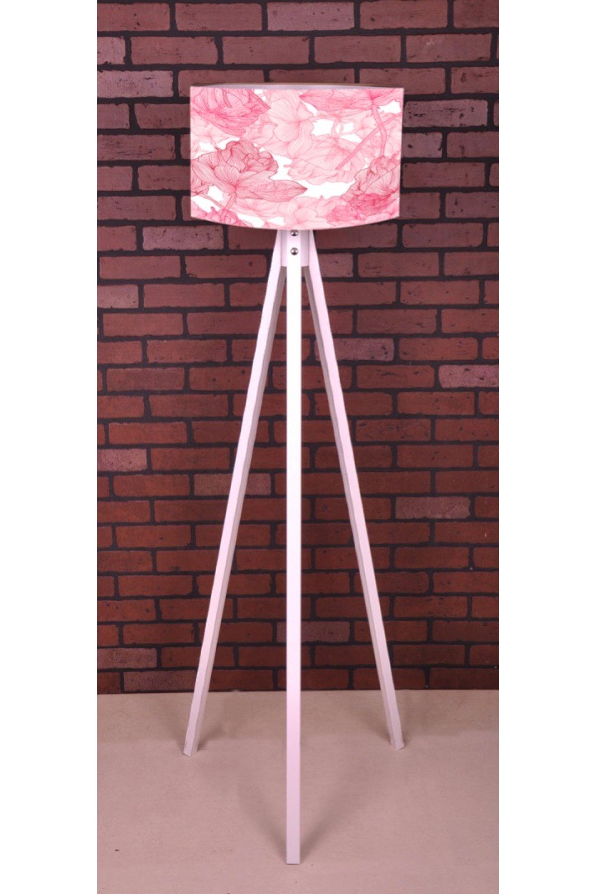 Evsimo 3 Ayaklı Tripod Pembe Çiçek Desen Lambader